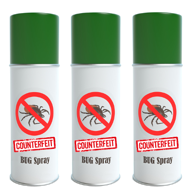 An image of bug spray cans with the word COUNTERFEIT overlaid