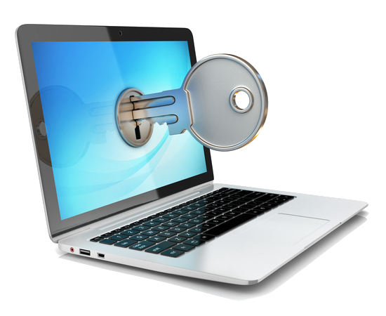 Image of laptop with a three dimensional key inserted into the screen