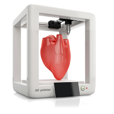 Image of 3D printer producing a heart - Example of types of patent-able subject matter