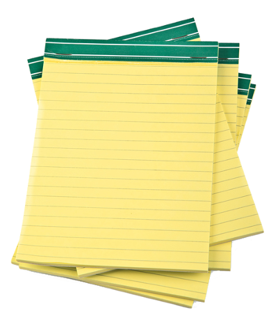 Image of a stack of yellow legal pads