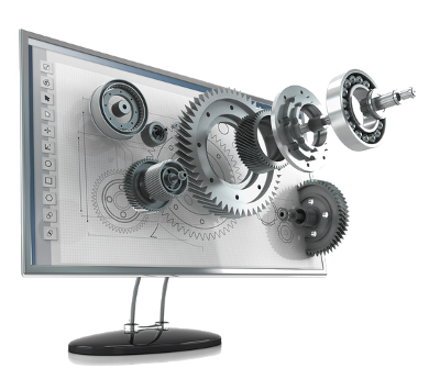 An image of a monitor with mechanical parts materializing from the screen
