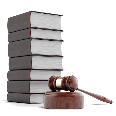 Image of a stack of books and a gavel