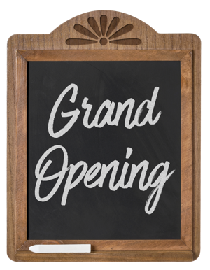 Grand Opening written on Chalkboard